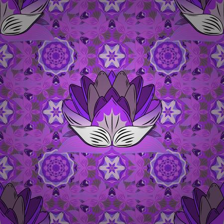 Modèle sans couture géométrique avec fleur en couleurs bleues sur fond rose avec lotus bleu et lilas. Mandalas. Éléments ronds. Forme de gradient radial.