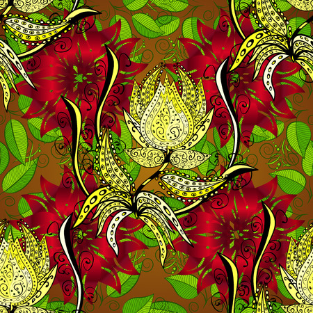 Beautiful seamless background with red and yellow flowes and green leafs.