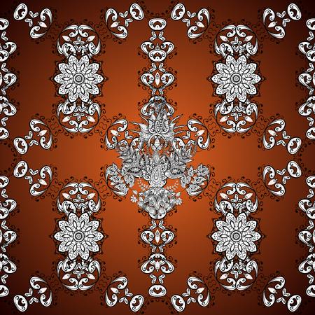 dark brown background: Vintage pattern on golden dark brown background with golden elements.