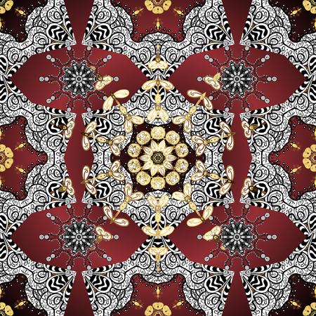 Vintage pattern on golden dark red background with golden elements. Illustration
