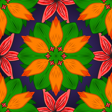 Seamless floral mandala pattern in pink, turquoise green and pale orange on floral blue background.