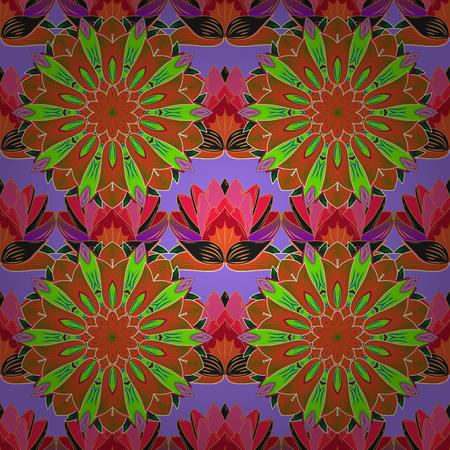 Lotus. Seamless floral pattern. Mandala. Raster. Radial gradient shape. Green, brown, pink. Blue. Stock Photo