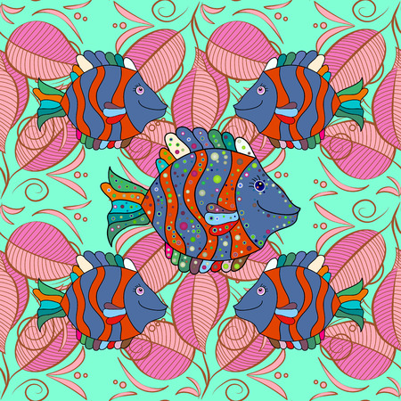 navy blue background: Seamless pattern with colored zentangle doodle fishes. Vintage. Pastel colors fishes on navy blue background