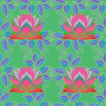 Oriental pattern of stylized pink lotus flowers and curved leaves on green background. Vector seamless repeat.