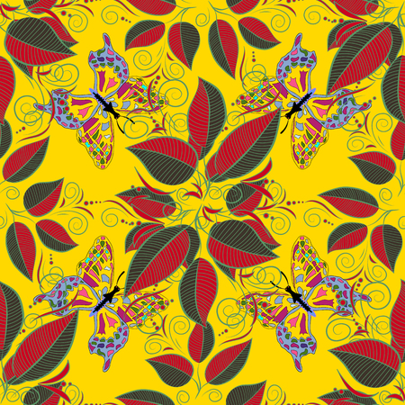 leafage: Seamless pattern with colorful autumn leaves. Vector illustration. Butterfly. Illustration
