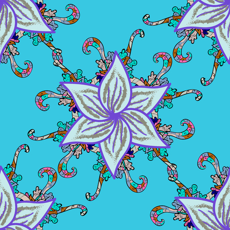 Blue floral wallpaper. seamless background. Vector EPS10.