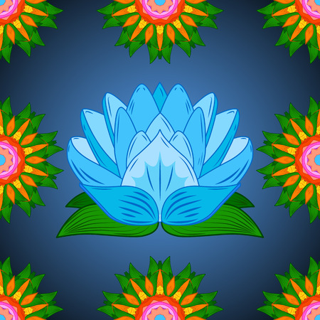 Vector Seamless continuous wallpaper tile. Lotus flower design created in blue tones. Stock Photo