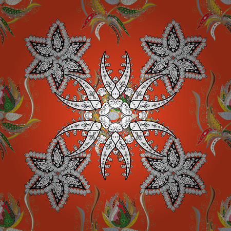 Wallpaper. Floral seamless pattern. Orange and white ornament. Seamless background. Colorful flowers. Illustration