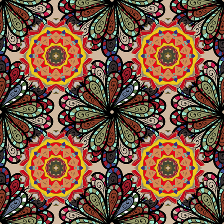 Seamless pattern with colorful mandala. Figure in the oriental style with traditional elements.