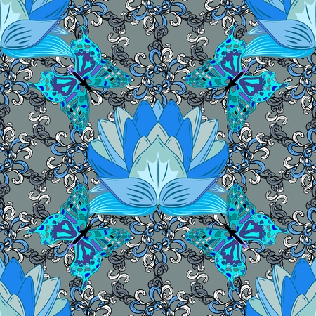 Vector seamless pattern with blue flowers and butterflies on grey background.