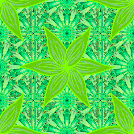 Floral seamless pattern with petals flowers. vector illustration texture. Green. Salad color.