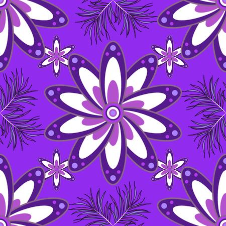 Vintage pattern on mandala background with petal flower. Violet, lilac mandalas background.