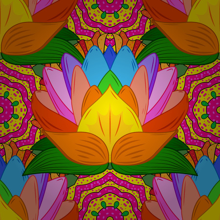 Colorful lotus flowers. Seamless background. Vector illustration. Radial gradient shape. Stock Photo