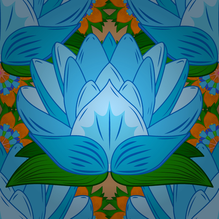 Vector Seamless continuous wallpaper tile. Lotus flower design created in blue tones. Radial gradient shape.