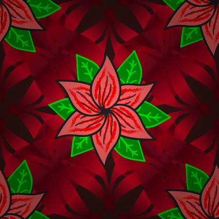 Seamless pattern with red grdient petals flowers on black background. Vector illustration. Radial gradient shape. Stock Photo