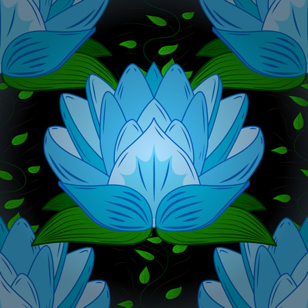 nenuphar: Seamless pattern with blue lotus, petals and with dark background. Green leaves.