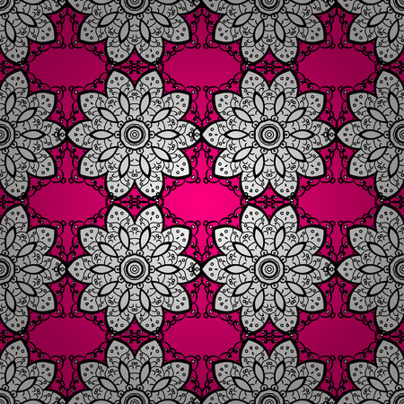 vector seamless pattern with white doodles on pink background. Radial gradient shape.