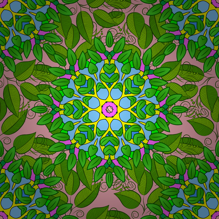 Seamless green leaves on pink background with mandalas. vector illustration texture. Radial gradient shape.