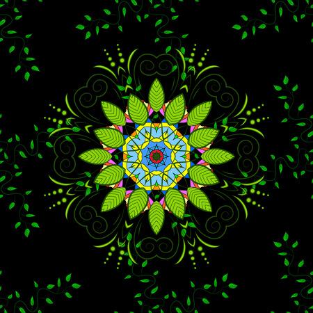 opulent: Seamless green leaves on black background with mandalas. vector illustration texture. Illustration