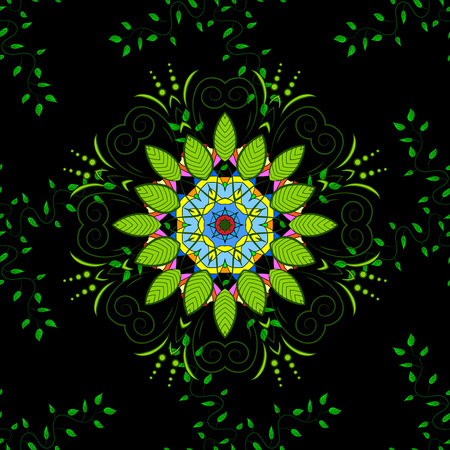Seamless green leaves on black background with mandalas. vector illustration texture. Illustration
