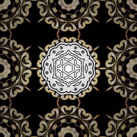 Golden Seamless Wallpaper, Vector Background. Snowflake, Christmas, New Year. Golden grid. Luxury background. Vintage pattern. Floral. Black background. White mandala. Radial gradient shape.