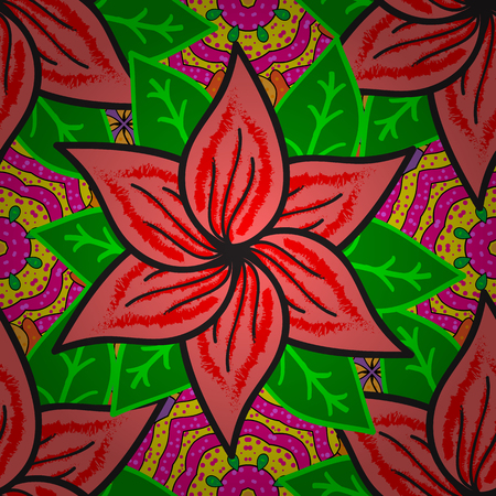 context: Seamless pattern with red poinsettia plant on dark green background