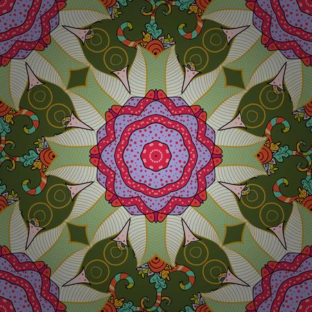 Radial gradient shape. Raster illustration texture. Colorful elements. Mandalas background.