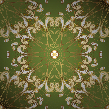 Carving. Small depth of field. Pattern on green background with golden elements. Element woodcarving. Patina. Luxury furniture. Green tree with gold trim. Furniture in classic style.