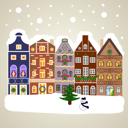 Vector illustration. Village in Christmas, banner on background with snow and snowflakes. Greeting card. Illustration