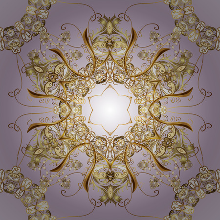 intertwined: Ornate vector decoration. Golden element on violet background. Luxury, royal and Victorian concept. Vintage baroque floral seamless pattern in gold over violet.