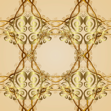 Seamless classic golden pattern. Vector traditional orient ornament. Golden pattern on neutral background with golden elements.