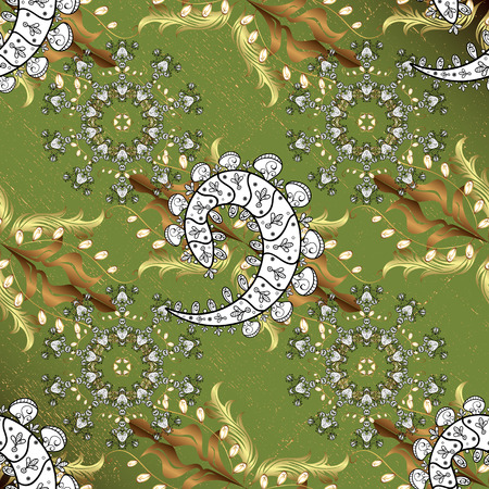 intertwined: Vintage pattern on green background with golden elements and with white doodles. Christmas, snowflake, new year.