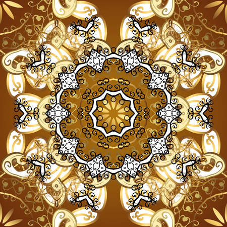 Seamless classic golden pattern. Golden pattern on yellow background with golden elements. Traditional orient ornament. Classic vintage background. Illustration