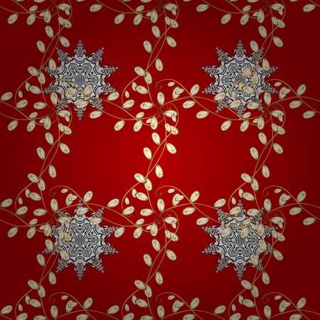 Seamless pattern medieval floral royal pattern. Decorative symmetry arabesque. Gold on red background. Good for greeting card for birthday, invitation or banner. Vector illustration.