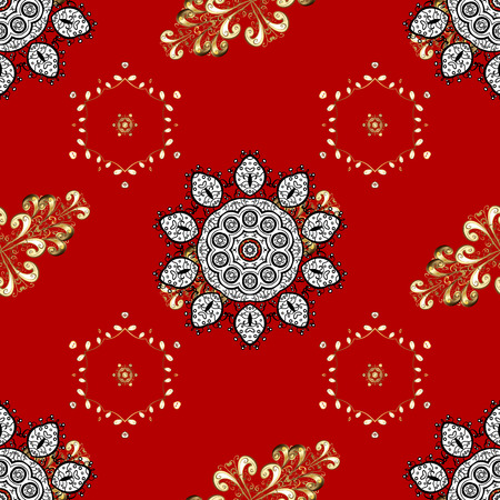 Traditional and golden pattern. Classic oriental background with white doodles. Damask seamless ornament.