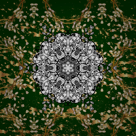 Golden ornate illustration for wallpaper. Vintage design element in Eastern style. pattern with floral ornament. Traditional arabic decor on green background. Ornamental lace tracery.