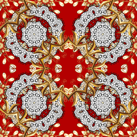rococo: golden mehndi seamless pattern. Ornamental floral elements with henna tattoo, golden stickers, mehndi and yoga design, cards and prints. Pattern on red background with golden elements.