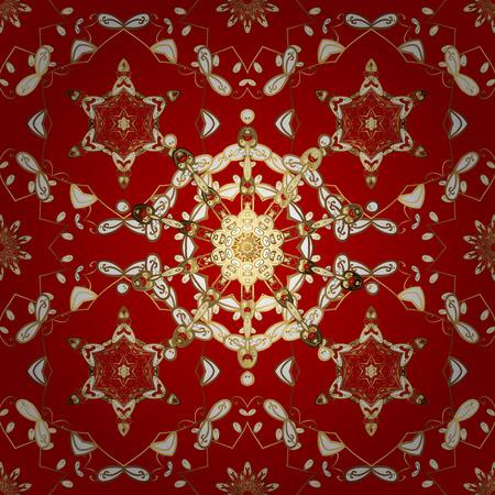 Seamless pattern oriental ornament. Golden textile print. Floral tiles. Islamic design.  illustration. Golden pattern on red background with golden elements.