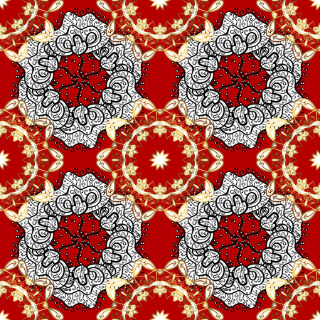 tissue paper art: Damask seamless ornament. Traditional and golden pattern. Classic oriental background with white doodles.