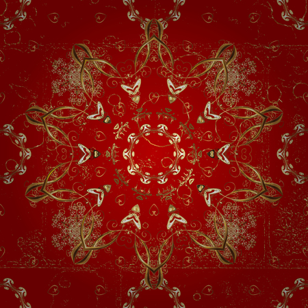 Vintage pattern on a red background with golden elements. Vector illustration. Illustration