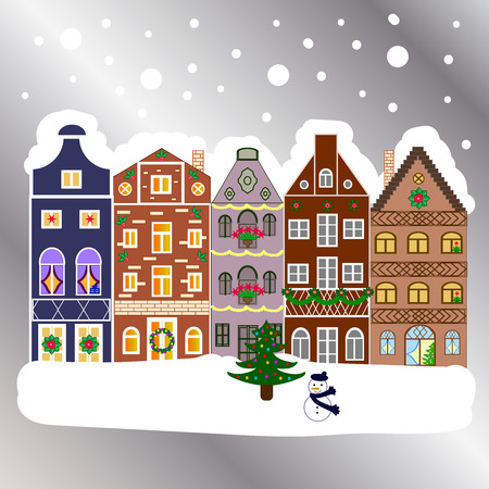 Landscape with nature and houses. Winter city with trees, cute houses, sun. Nature landscape. Winter is coming.