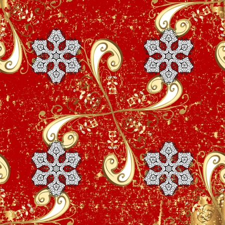 Floral pattern. Sketch baroque, damask. Background. Graphic modern on red background.