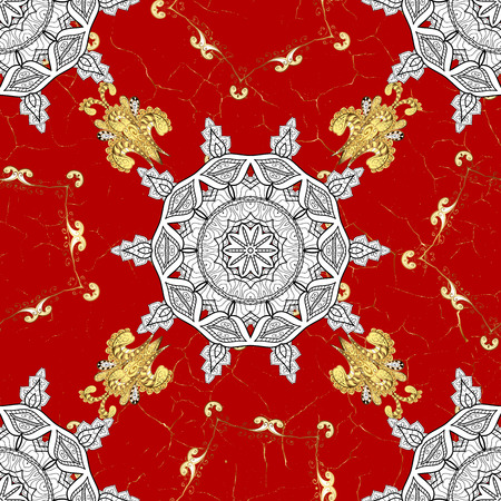 Golden pattern on red background with golden elements. Islamic design. Floral tiles. Seamless pattern oriental ornament. Golden textile print.