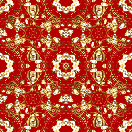 tissue paper art: Golden textile print. Islamic design. Golden pattern on red background with golden elements. Seamless pattern oriental ornament. Floral tiles.