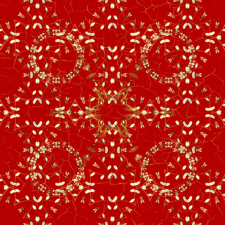 Christmas, snowflake, new year. Vintage pattern on red background with golden elements.