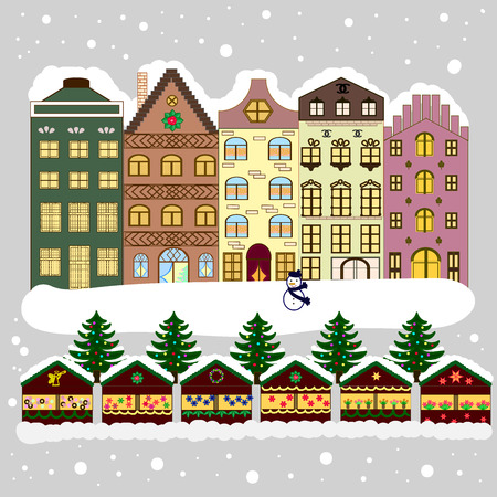 rejoice: Greeting card. Village in Christmas, banner on background with snow and snowflakes.