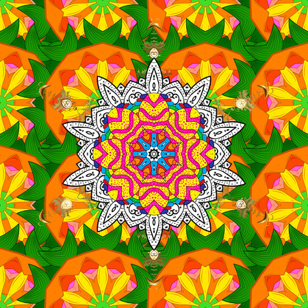 Nature seamless pattern with abstract ornament. Round mandala in childish style. Ornamental doodle background.