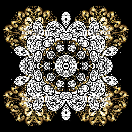 golden daisy: Antique golden repeatable sketch.Golden element on black background. Damask repeating background. Golden black floral ornament in baroque style.