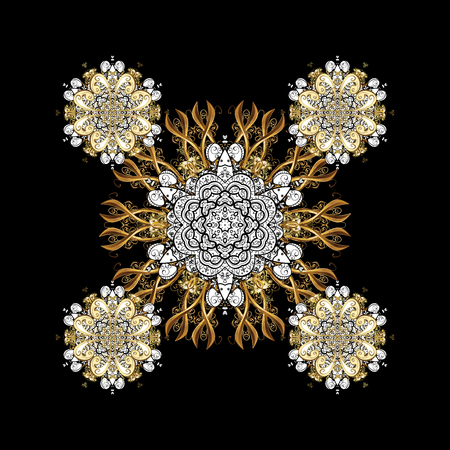 Oriental ornament in the style of baroque. Traditional classic golden pattern on black background with golden elements. Stock Photo