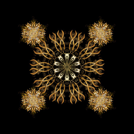 Classic vintage background. Classic golden pattern. Traditional orient ornament. On black background with golden elements.